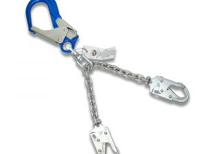 AFP Heavy-Duty 26'' Aluminum Rebar Positioning Chain Assembly with Swivel & Steel Snap Hooks, Safety Fall Protection Positioning Restraint (OSHA/ANSI) PPE