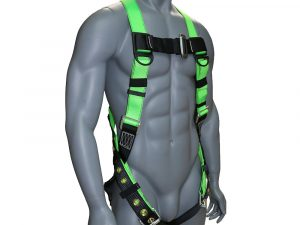AFP Universal Full-Body Safety Harness with Dorsal D-Ring and Tongue Buckle Legs High-Visibility Green (OSHA/ANSI Compliant)