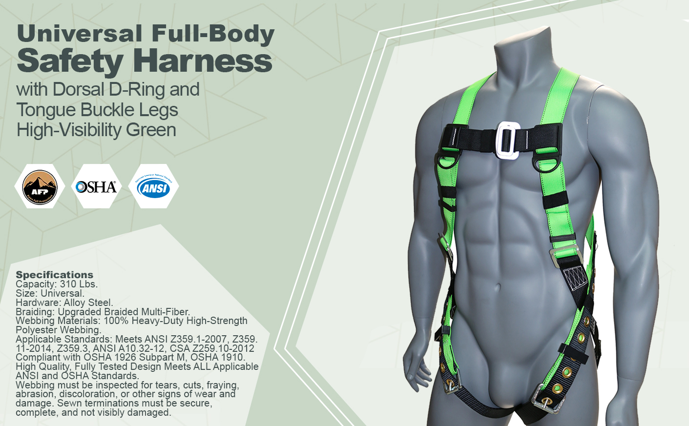 AFP Universal Full-Body Safety Harness with Dorsal D-Ring and Tongue Buckle Legs High-Visibility Green (OSHA/ANSI Compliant) Quick One Safety