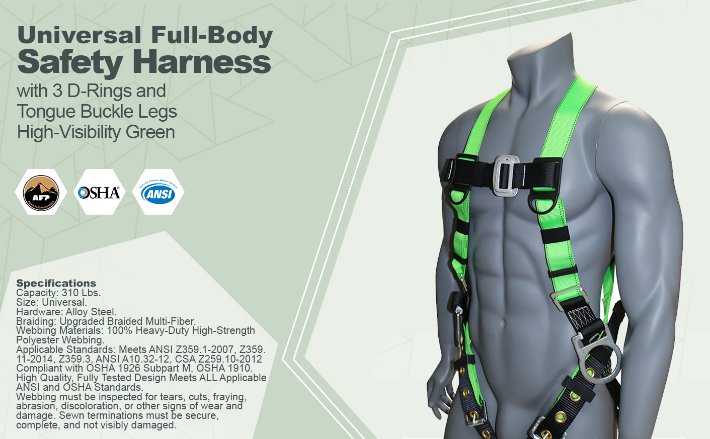 AFP Universal Full-Body Safety Harness with 3 D-Rings and Tongue Buckle Legs High-Visibility Green (OSHA/ANSI Compliant) Quick One Safety