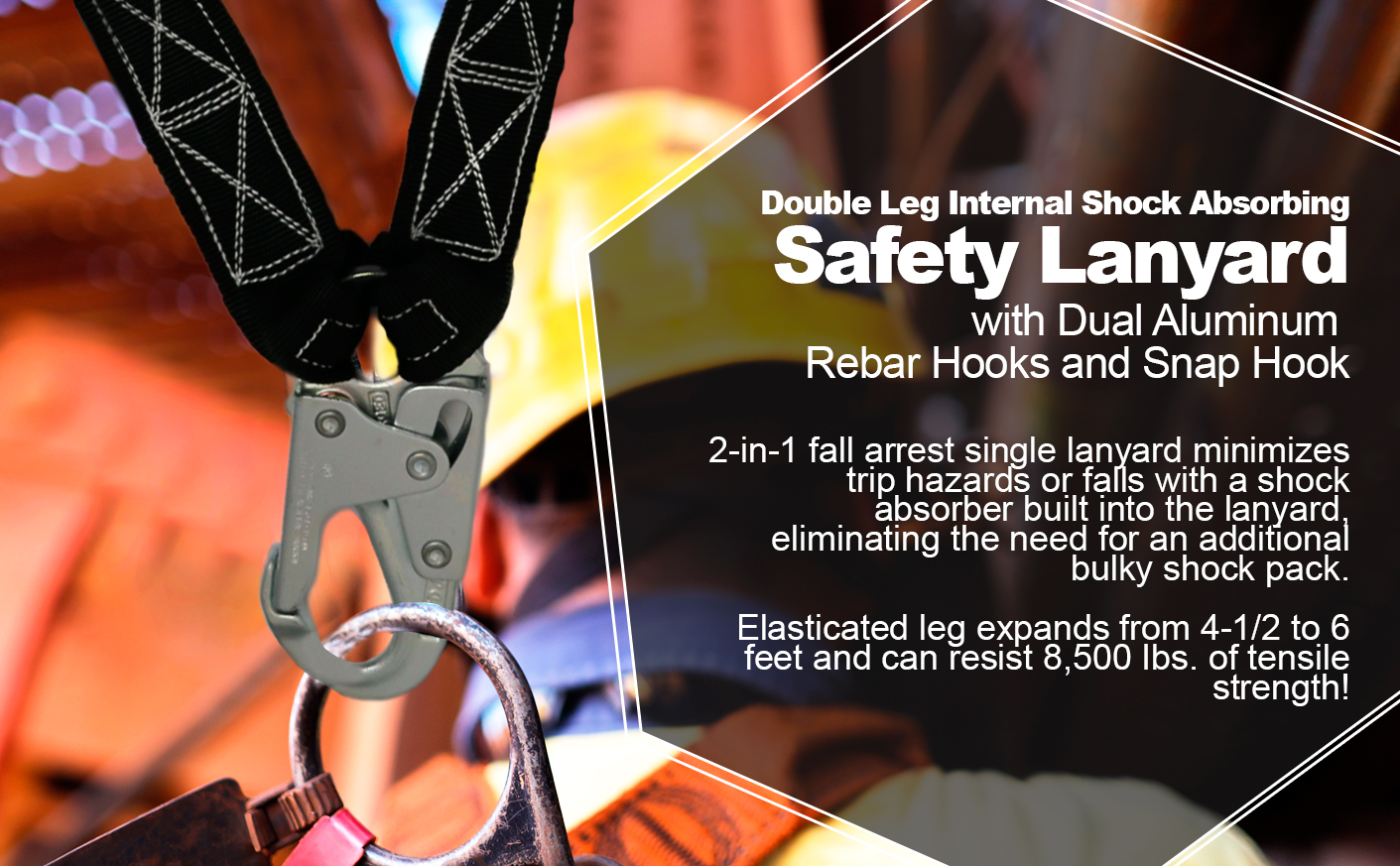 6 FT Double Leg Internal Shock Absorbing Lanyard with Dual Aluminum Rebar Hooks and Snap Hook. Quick One Safety