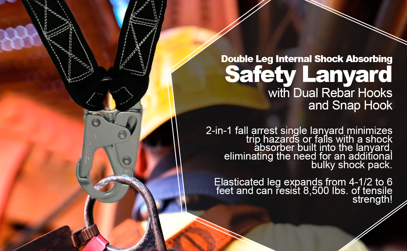 6 FT Double Leg Internal Shock Absorbing Lanyard with Dual Rebar Hooks and Snap Hook Quick One Safety