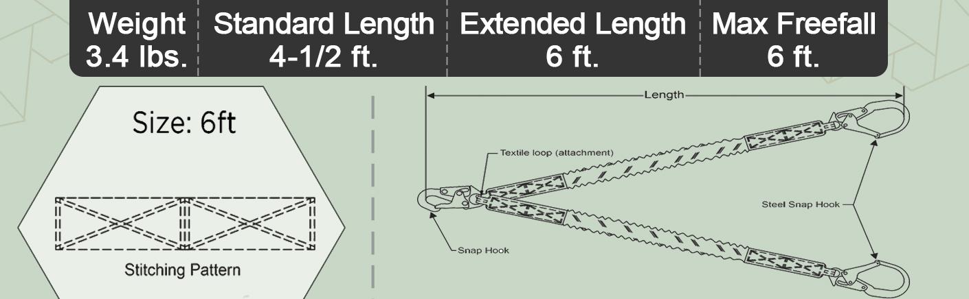 6 FT Double Leg Internal Shock Absorbing Lanyard with Dual Rebar Hooks and Snap Hook