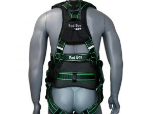 """AFP Fall Protection Premium Black Safety Harness w/ Hi-Viz Lime Stitches, Vented & Padded Shoulder, Legs and Back, 8"""" Thick Back Support Belt, 3 D-Rings, Tongue Buckle, Quick Release (OSHA/ANSI PPE) Quick One Safety"""