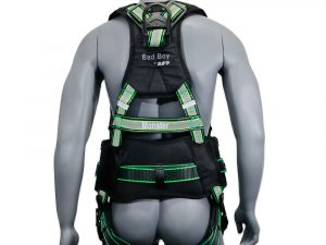 """AFP Fall Protection Premium Hi-Viz Lime & Black Reflective Safety Harness, Vented & Padded Shoulder, Legs & Back, 8"""" Thick Back Support Belt, 3 D-Rings, Tongue Buckle, Quick Release (OSHA/ANSI PPE) Quick One Safety"""