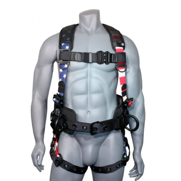 """AFP Fall Protection Full-Body Premium American Flag Safety Harness, Vented & Padded Shoulder, Legs & Back, 8"""" Thick Back Support Belt, Aluminum D-Rings, Tongue Buckle, Quick Release (OSHA/ANSI PPE) Quick One Safety BAD BOY / PROUD AMERICAN / USA FLAG"""