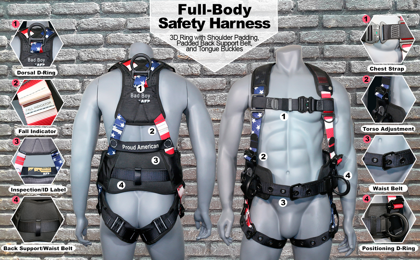 """AFP Fall Protection Full-Body Premium American Flag Safety Harness, Vented & Padded Shoulder, Legs & Back, 8"""" Thick Back Support Belt, Aluminum D-Rings, Tongue Buckle, Quick Release (OSHA/ANSI PPE)"""