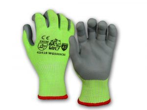 WOLF Hi-Viz Lime A3 Cut Resistant Breathable Nitrile Foam Grip Palm Seamless Glove Quick One Safety
