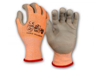 WOLF Hi-Viz Orange A5 Cut Resistant Breathable Polyethylene Grip Palm Seamless Glove Quick One Safety