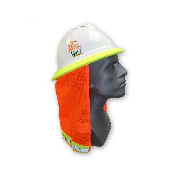 WOLF High-Visibility Orange Reflective Stripe Hard Hat Mesh Stretch Band Neck Sunshade