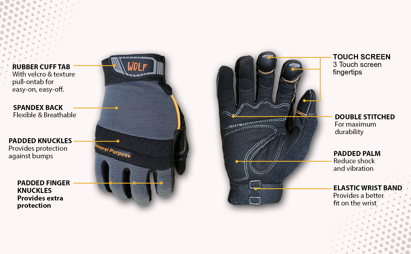 Diablo D1472CF 14 in. x 72 Tooth Cermet Metal and Stainless-Steel Cutting Saw Blade + WOLF Mechanic Stretchable Flex Grip Work Glove Quick One Safety