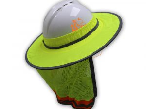 WOLF High-Visibility Lime Reflective Full-Brim Hard Hat Mesh Sun Visor Neck Shade Quick One Safety