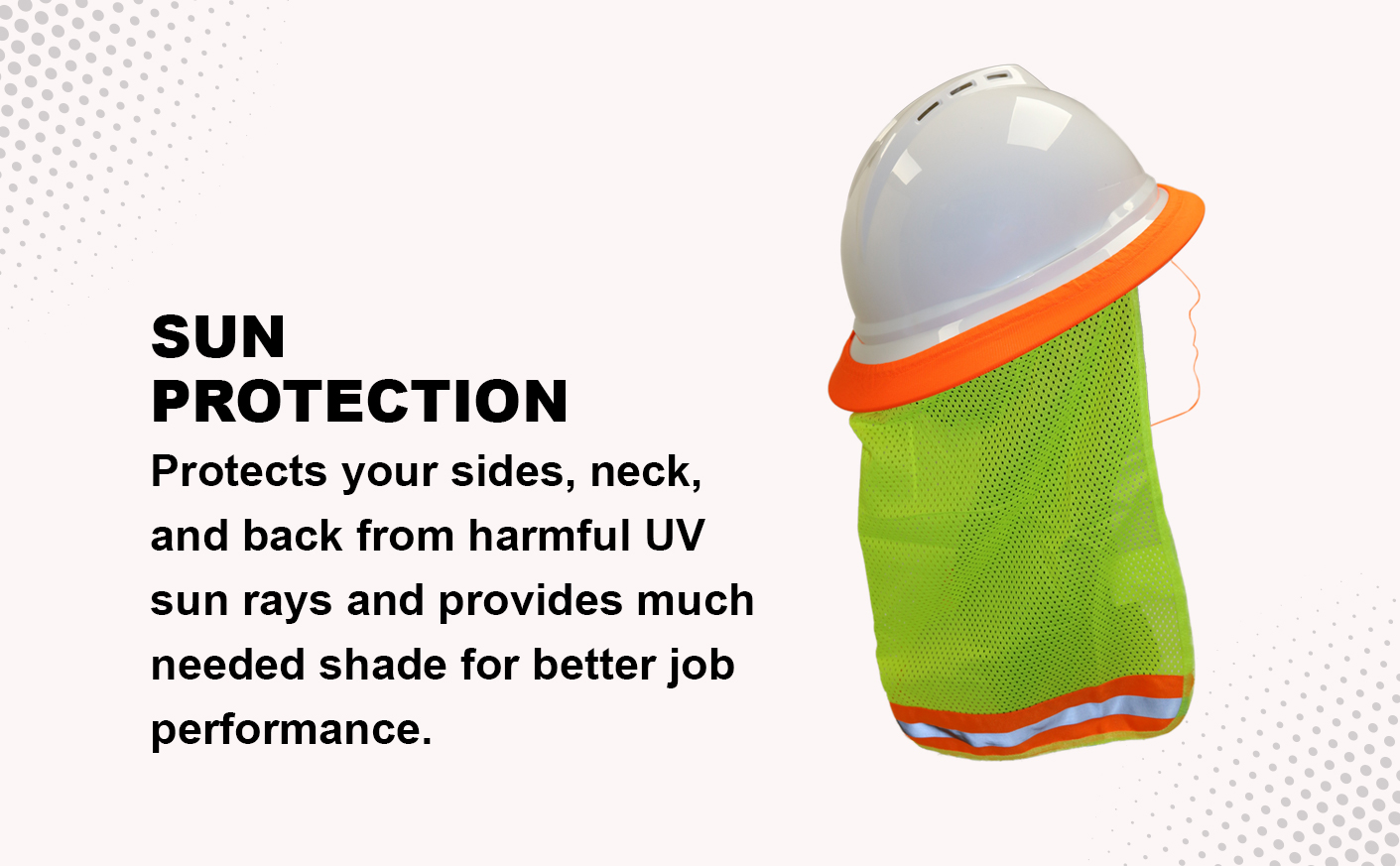 WOLF High-Visibility Lime Reflective Stripe Hard Hat Mesh Stretch Band Neck Sunshade Quick One Safety