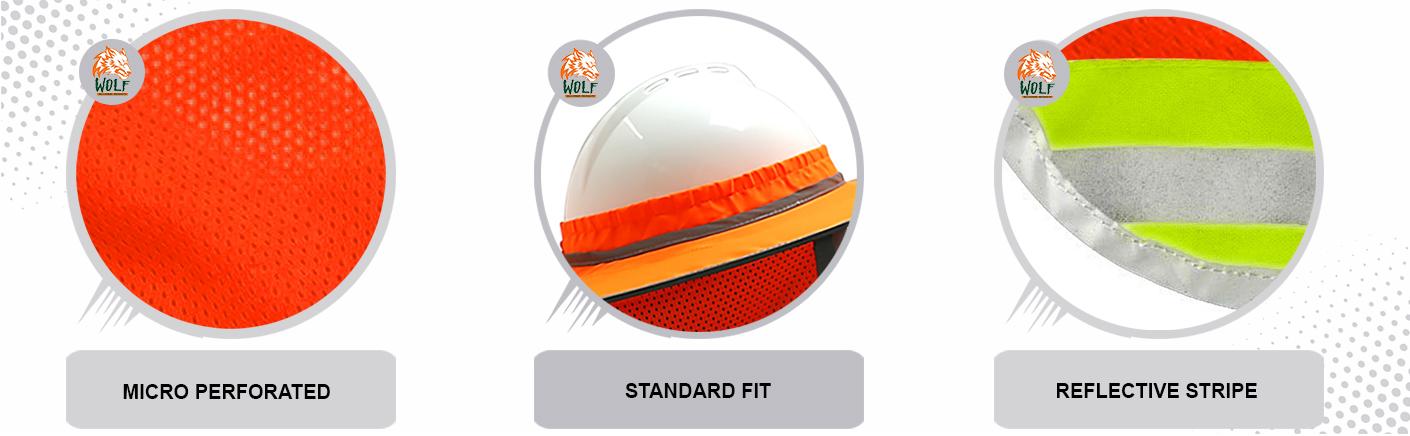 WOLF High-Visibility Orange Reflective Full-Brim Hard Hat Mesh Sun Visor Neck Shade Quick One Safety