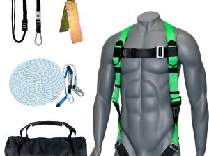 AFP 50FT Fall Protection Roofer Kit Braided Vertical Lifeline w/Rope Grab, 1 D-Ring Safety Harness, Hinged Anchor, Ballistic Nylon Tool Bag, Tool Lanyard | OSHA & ANSI Rated Quick One Safety