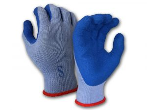 WOLF Blue Heavy-Duty Textured Rubber Latex Grip Knit Glove, Cut Resistant Quick One Safety