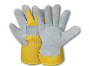 WOLF Yellow Canvas Genuine Cowhide Heavy-duty Shoulder Leather Palm Work Gloves with Wing Thumb/Index Finger and Safety Cuff