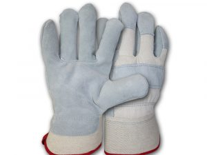WOLF White Canvas Genuine Grade A Cowhide Heavy-duty Shoulder Leather Palm Work Gloves with Wing Thumb/Index Finger and Safety Cuff Quick One Safety