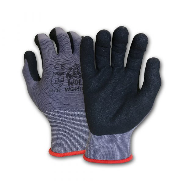 WOLF 13-gauge Ultra-Thin Nitrile Foam Coated Palm Grip Glove Multi-Purpose Quick One Safety