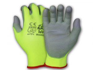 WOLF High-Viz Green Ultra-Thin Flexible Grip 13-gauge Polyurethane Palm Coated Nylon Shell Work Glove Quick One Safety