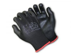 WOLF Ultra-Thin Breathable 13-gauge Black Polyurethane Palm Coated Safety Glove