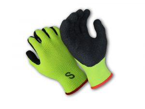 WOLF Hi-Viz Green Heavy-Duty Textured Rubber Latex Grip Knit Glove Quick One Safety