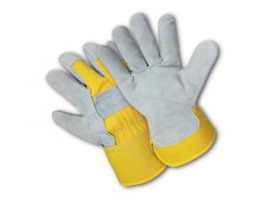WOLF Yellow Canvas Genuine Cowhide Heavy-duty Shoulder Leather Palm Work Gloves with Wing Thumb/Index Finger and Safety Cuff Quick One Safety