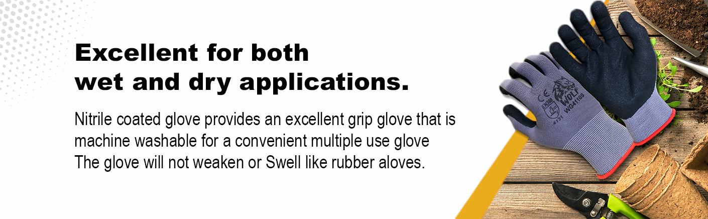 WOLF 13-gauge Ultra-Thin Nitrile Foam Coated Palm Grip Glove Multi-Purpose