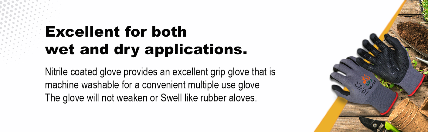 WOLF Cut Resistant Breathable Nitrile Foam Palm Glove with Tacky Dot Grip, Coated Quick One Safety